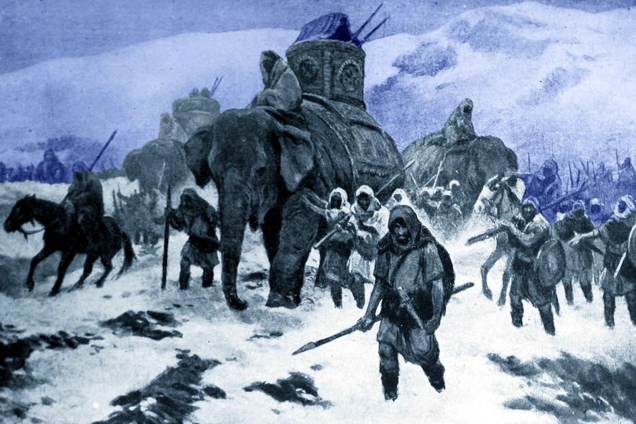Так, по мнению современного иллюстратора, мог выглядеть знаменитый переход Ганнибала через Альпы - От тартессийцев до римлян   Warspot.ru
