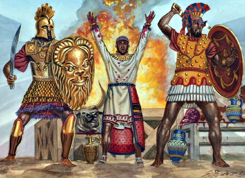 Художник изобразил Гамилькара Магонида совершающим жертвоприношение в ходе битвы при Гимере в 480 году до н.э. Его прикрывают морской пехотинец с Сардинии и карфагенский гоплит - От тартессийцев до римлян   Warspot.ru