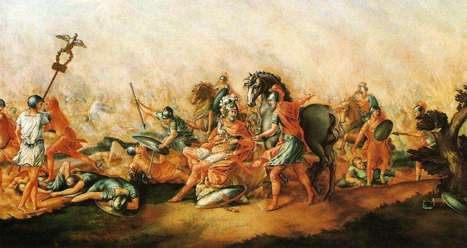 «Смерть Эмилия Павла», картина американского художника Джона Трамбулла, 1773 год. Римский консул Луций Эмилий Павел погиб в битве при Каннах - От тартессийцев до римлян   Warspot.ru