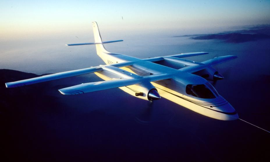 Scaled Composites Model 133 в полёте. Вариант с хвостовым оперением нормальной схемы, 1988 год - Специальный самолёт для специальных людей | Warspot.ru