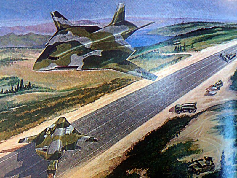 Вариант McDonnell Douglas ATTMA с интегральной компоновкой, 1988 год. Изображено использование асфальтированной дороги в качестве импровизированного аэродрома - Специальный самолёт для специальных людей | Warspot.ru