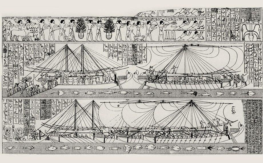 Египетские корабли грузятся в Пунте. Прорисовка рельефа из храма Хатшепсут. maritimehistorypodcast.com