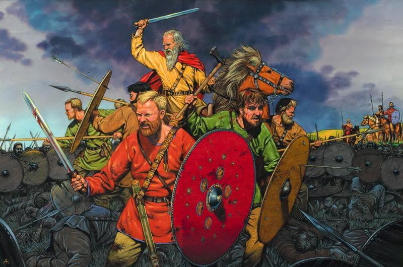 Реконструкция сцены сражения, разыгравшегося где-то неподалёку от Иллерупа. На иллюстрации представлены воины с различным снаряжением, которое отражает их статус. Верхом на коне сражается один из вождей разбитой армии. На переднем плане изображён ещё один вождь или один из старших дружинников. Он вооружён римским мечом, его ножны и портупея украшены позолоченными накладками, а щит снабжён серебряным умбоном с позолоченными украшениями. Снаряжение рядовых воинов позади него в основном состоит из щита и копий - Скандинавские клады: вожди и воины | Warspot.ru
