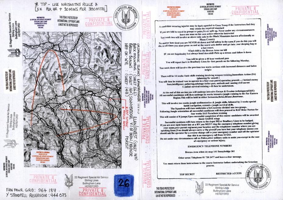 ?Карта с одного из заданий по отбору в SAS. Судя по обилию штампов с грозными предостережениями, её владелец сделал из документа сувенир - Погоня за бежевым беретом | Warspot.ru