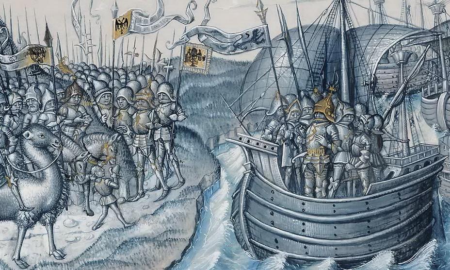 Армия Сципиона ожидает высадки Магона с кораблей. Фрагмент иллюстрации из французского манускрипта XV века - Самый младший из Баркидов | Warspot.ru