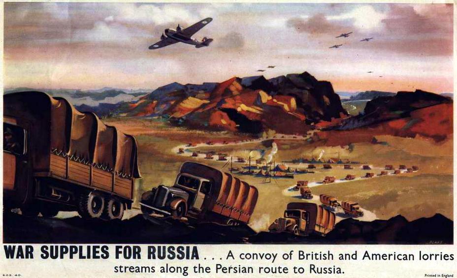 Колонны грузовиков, везущие британскую помощь по пыли Ирака и Ирана
