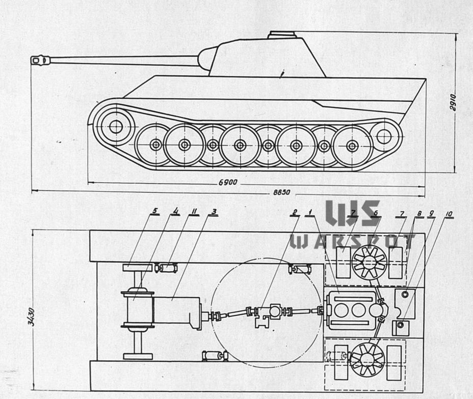 Схема моторно-трансмиссионной группы и габариты танка - Страшнее кошки зверя нет | Warspot.ru