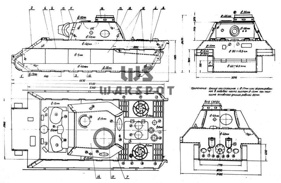 Схема бронирования корпуса и башни. В некоторых местах значения толщины брони оказались завышенными примерно на 5 мм - Страшнее кошки зверя нет | Warspot.ru