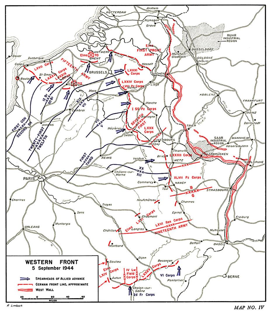 Западный фронт по состоянию на 5 сентября 1944 года. Cole H. The Lorraine Campaign. – Washington: United States Army, 1993 - Большая ошибка Монти   Warspot.ru