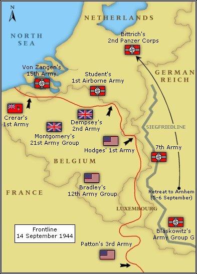 Западный фронт по состоянию на 14 сентября 1944 года. ww2talk.com - Большая ошибка Монти   Warspot.ru