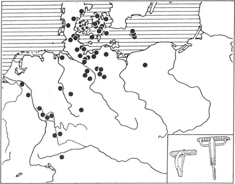 Ареал распространения фибул типа типа Альмгрен VII серии 3 и 4 - Северные варвары среди римлян | Warspot.ru