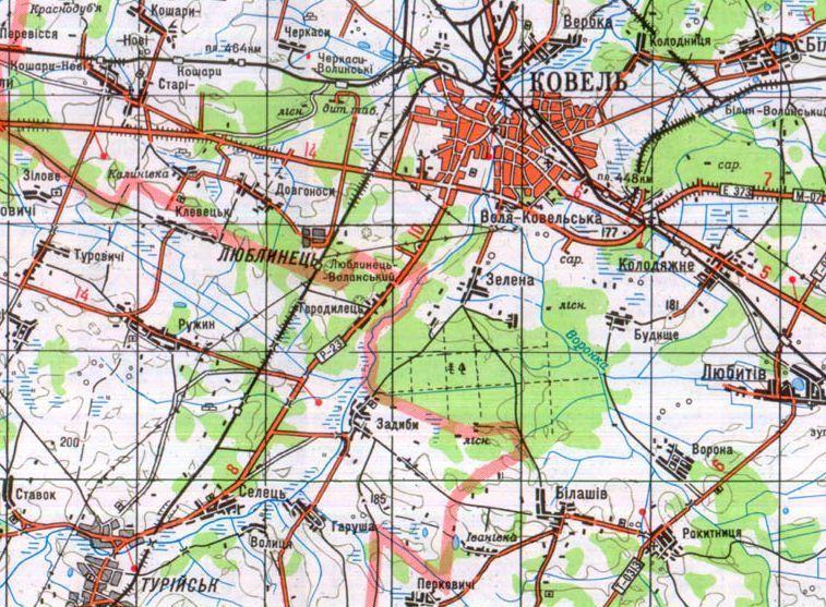 Карта окрестностей Ковеля, данные 90-х годов. - Операция «Ильзе» | Warspot.ru