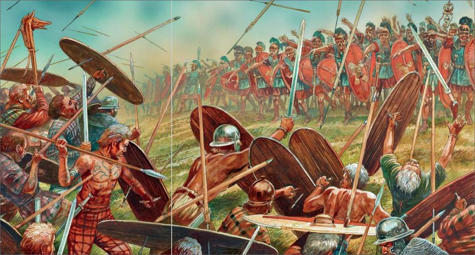 Воины Цезаря сражаются с гельветами. Реконструкция П. Денниса