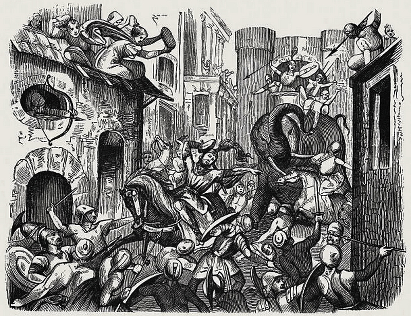 Гравюра, изображающая смерть великого воина и полководца в уличном бою - Пирр: авантюрист, полководец, правитель | Warspot.ru
