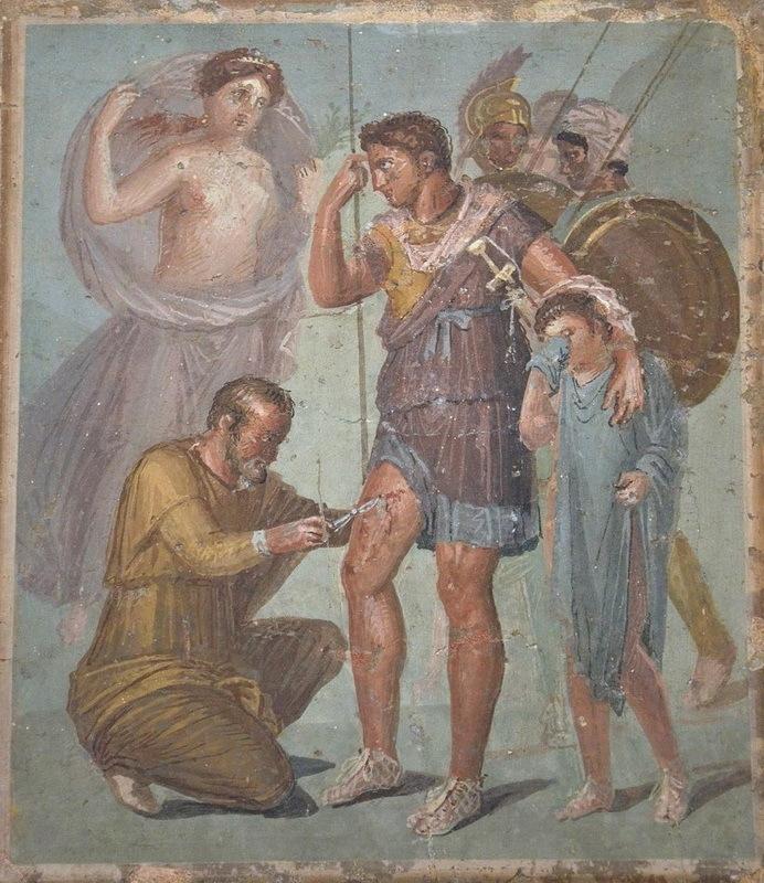 Медик извлекает стрелу из бедра Энея. Фреска из Помпей. Национальный музей археологии, Неаполь - Исцеляющие руки | Warspot.ru