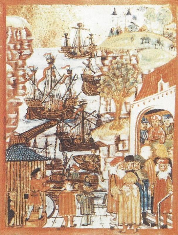 Ганзейские купцы и корабли. Миниатюра конца XV века. upload.wikimedia.org - Запретная торговля | Warspot.ru