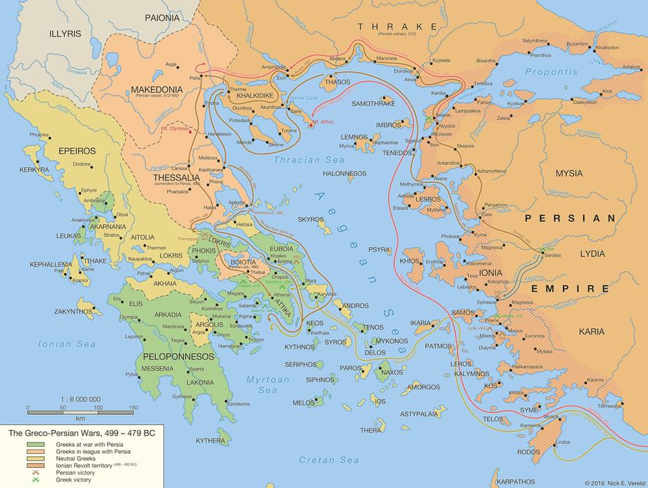 Карта греко-персидской войны (события 499–479 годов до н.э.). deviantart.net - Артемисия из Галикарнаса | Warspot.ru