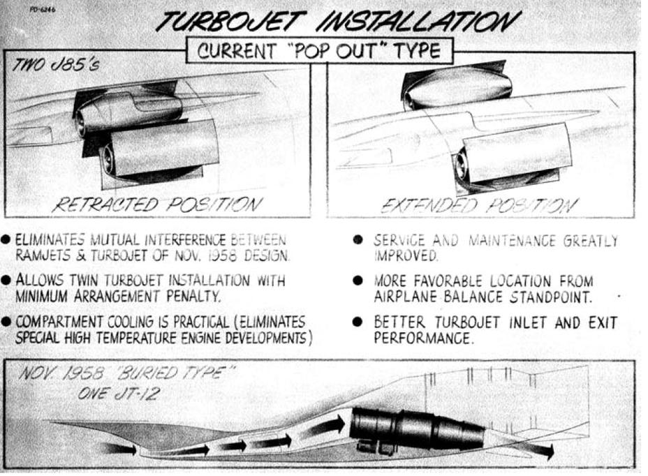 Размещение двигателей J85 на Convair FISH в сравнении с JT-12, 1959 год - «Стелс»: первые пять лет | Warspot.ru