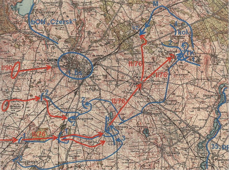 Действия 18-го полка уланов Поморских 1 сентября 1939 года. На карте обозначены: 1 — действия 1-го эскадрона 18-го полка уланов Поморских. 2 — действия 2-го эскадрона 18-го полка уланов Поморских. 3 — действия 3-го эскадрона 18-го полка уланов Поморских. 4 — действия 4-го эскадрона 18-го полка уланов Поморских.Kol. — действия эскадрона велосипедистов (самокатчиков) Поморской бригады кавалерии. TK — действия эскадрона разведывательных танков 81-го танкового дивизиона Поморской бригады кавалерии. М — действия манёвренной группы. Sz. — атака 1-го и 2-го эскадронов 18-го полка уланов Поморских под Кроянтами. 1. bs — район обороны 1-го батальона стрелков.bON «Chersk» — район обороны батальона обороны народовой «Черск». 35.pp — район обороны 35-го пехотного полка 9-й пехотной дивизии. І/76 — действия немецкого 1-го батальона 76-го пехотного полка. ІІ/76 — действия немецкого 2-го батальона 76-го пехотного полка. І/90 — действия немецкого 1-го батальона 90-го пехотного полка. Источник: Wielka Księga Kawalerii Polskiej 1918–1939. — T. 21. 18 Pułk Ułanów Pomorskich. — Warszawa, 2012