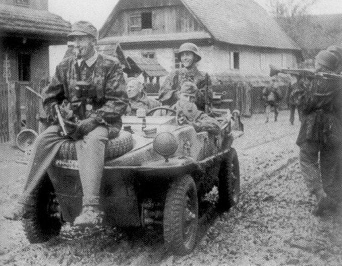 «Швиммваген» дивизии СС «Нордланд» в хорватском селе. frikorps-danmark.dk - Балканский вояж дивизии «Нордланд»: скандинавы против югославских партизан | Warspot.ru