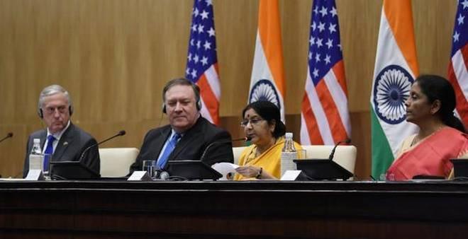 Переговоры Индии и США в формате «2+2», состоявшиеся в Нью-Дели. thehindu.com - Военная дружба Индии и США   Warspot.ru