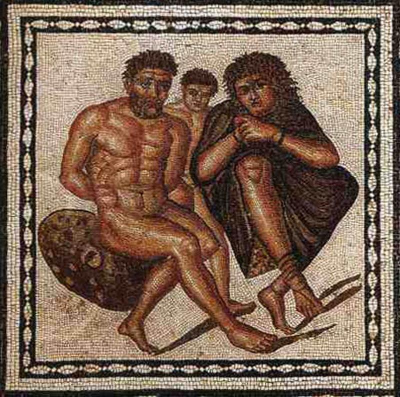 Мозаика, изображающая закованных в цепи мавританских пленников, начало I века н.э. Музей Типасы, Алжир