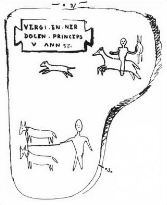 Изображение утраченной ныне стелы I века н.э. с изображением всадника и надписью VERGI EN NER/DOCEN, princeps, / v(ixit) из Туджа, Каибилия