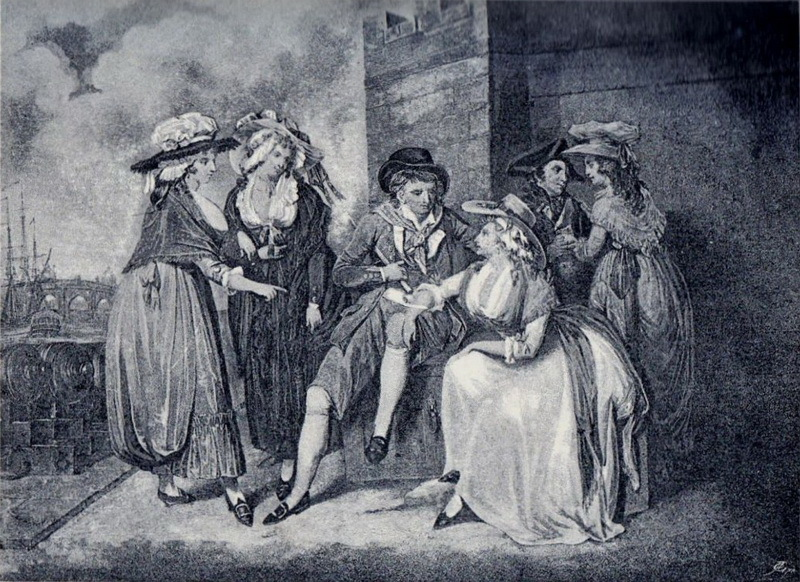 Матрос на берегу заигрывает с дамами. Рисунок 1790 года. dawlishchronicles.com - Призовые деньги в Роял Неви | Warspot.ru