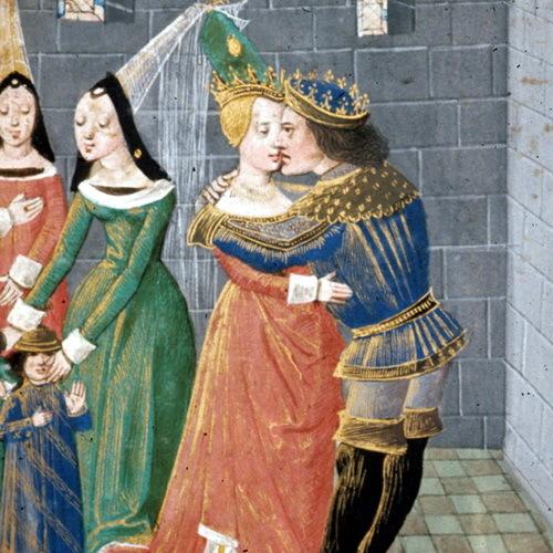 Агафокл целует вдову Дамаса, книжная миниатюра XV века