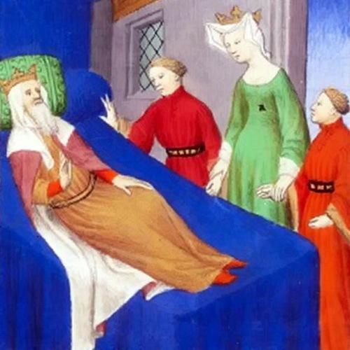 Умирающий Агафокл прощается с женой Теоссеной и сыновьями, книжная миниатюра XV века
