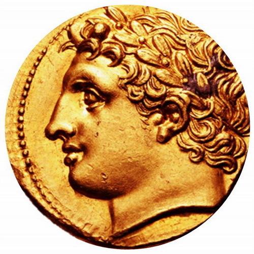 Золотая декадрахма раннего периода правления Агафокла с изображением головы Аполлона