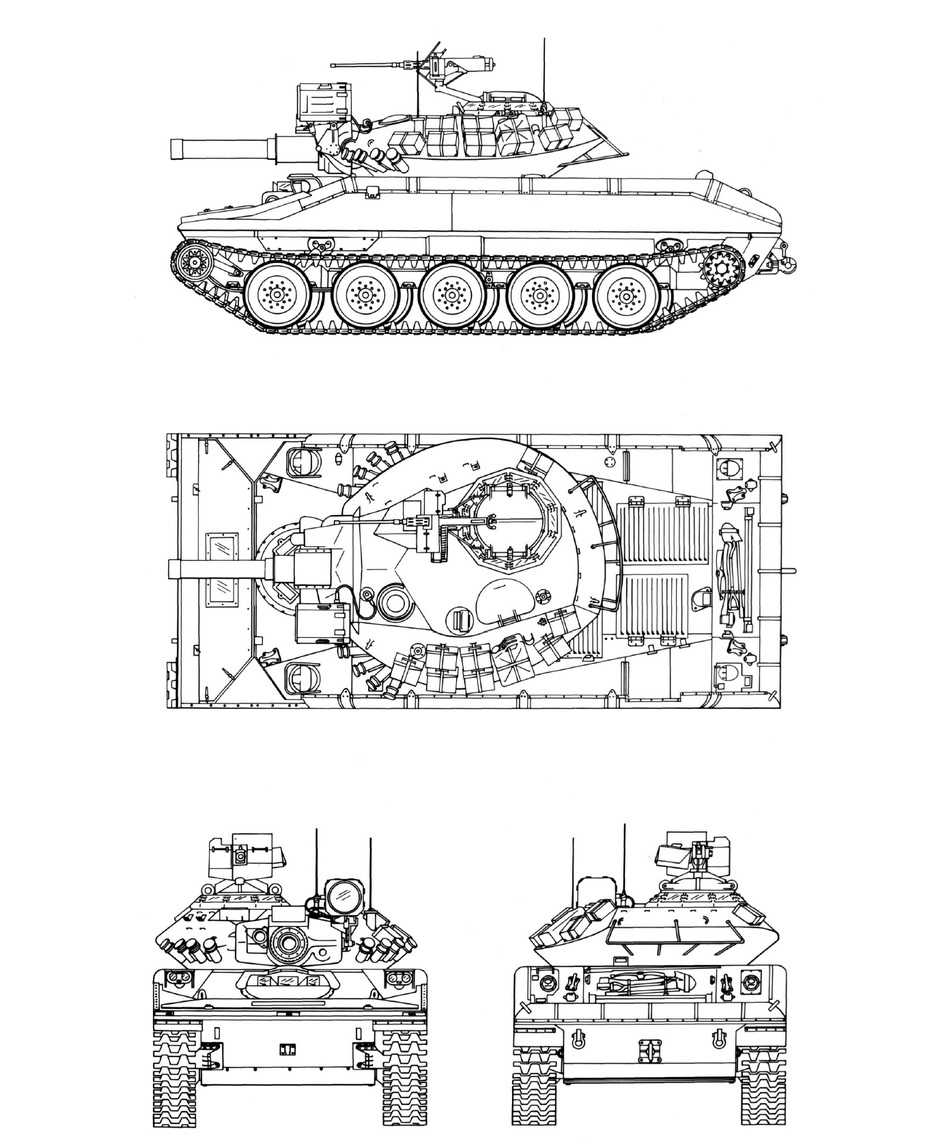 ​Проекции серийного «Шеридана». Hunnicutt R.P. Sheridan. A history of the American Light Tank Volume 2. – Presidio, 1995 - Самый «тяжёлый» лёгкий танк | Warspot.ru