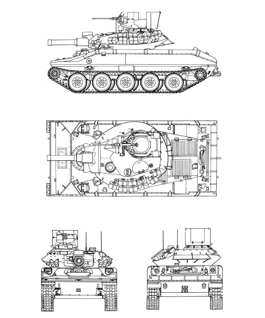 ​Проекции М551А1(TTS). Hunnicutt R.P. Sheridan. A history of the American Light Tank Volume 2. – Presidio, 1995 - Самый «тяжёлый» лёгкий танк | Warspot.ru