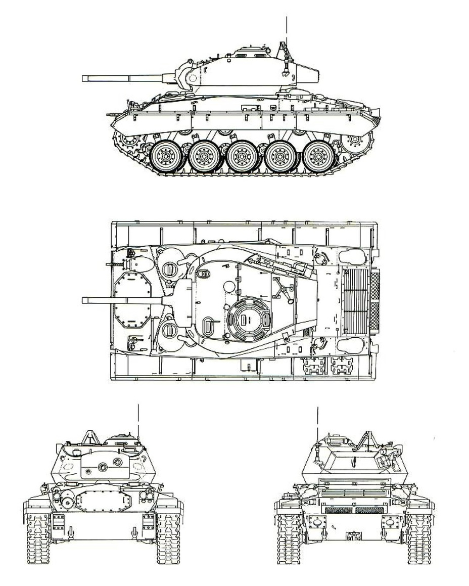 ​Проекции серийного танка М24. Hunnicutt R.P. Stuart. A history of the American Light Tank Volume 1. – Presidio, 1992 - Лучший лёгкий танк Второй мировой | Warspot.ru