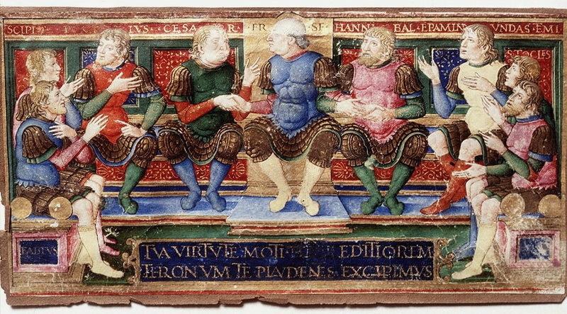 Восемь великих полководцев античности: Эпаминонд, Фемистокл, Ганнибал, Фабий Максим, Сципион, Помпей, Цезарь и ещё один неидентифицированный военачальник. Девятым изображён кондотьер Франческо Сфорца, причём на миниатюре он пожимает руки Цезарю и Ганнибалу. Миниатюра работы Джованни Пьетро да Бираго. Между 1490 и 1496 годами. Галерея Уффици, Флоренция. commons.wikimedia.org - «Убивают и ранят без какого-либо уважения» | Warspot.ru