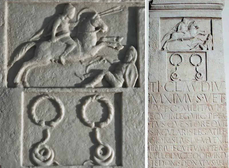 Надгробие Тиберия Клавдия Максима с эпитафией, описывающей его биографию и карьеру