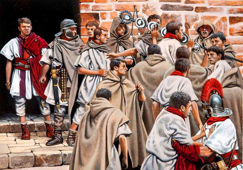 Сцена мятежа в римской армии. Реконструкция З. Грбашича