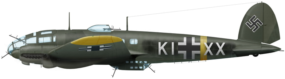 Реконструкция облика He 111H-6 с заводским кодом KI+XX и заводским номером №4116; хвостовая часть этого самолёта экспонируется в ЦМВС в Москве - Так был ли таран?   Warspot.ru