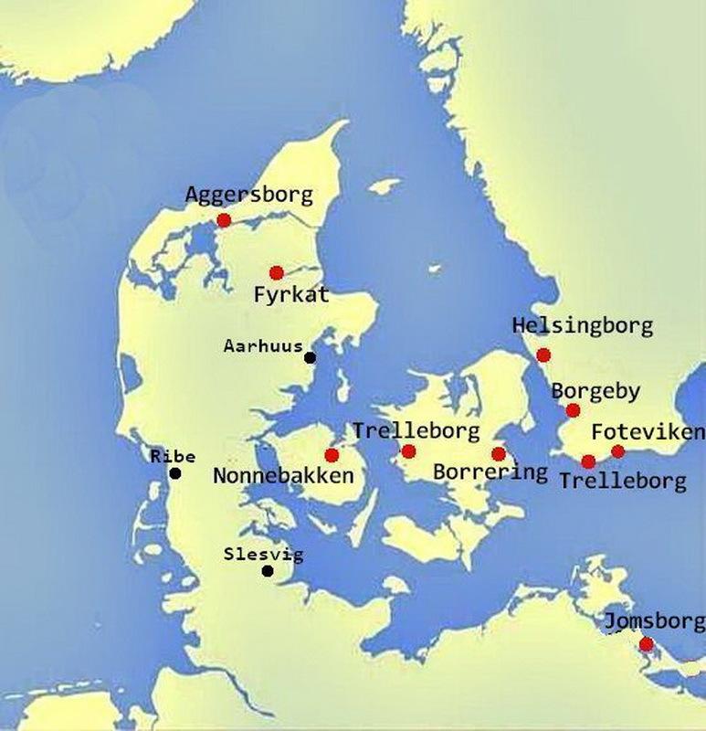 Карта распространения круговых укреплений викингов - Интернационал из Треллеборга | Warspot.ru