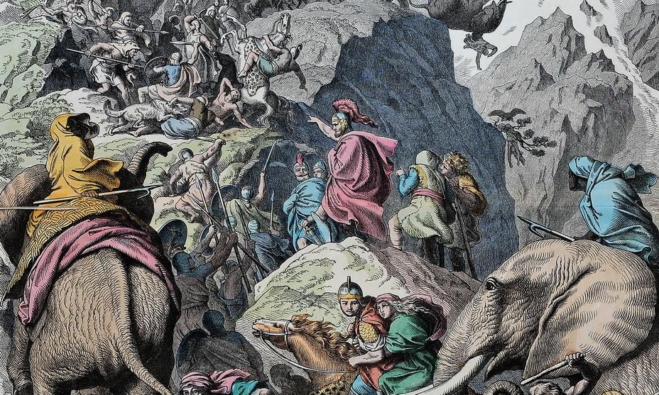 Ганнибал подбадривает своих воинов во время перехода через Альпы. Фрагмент раскрашенной гравюры немецкого художника Генриха Лойтемана (вторая половина XIX века) - «Мы найдём дорогу или построим её сами!» | Warspot.ru
