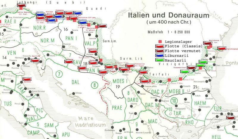Римские корабельные стоянки на Дунае и прилегающих областях. Примерно 400 год - Флот Римской империи | Warspot.ru