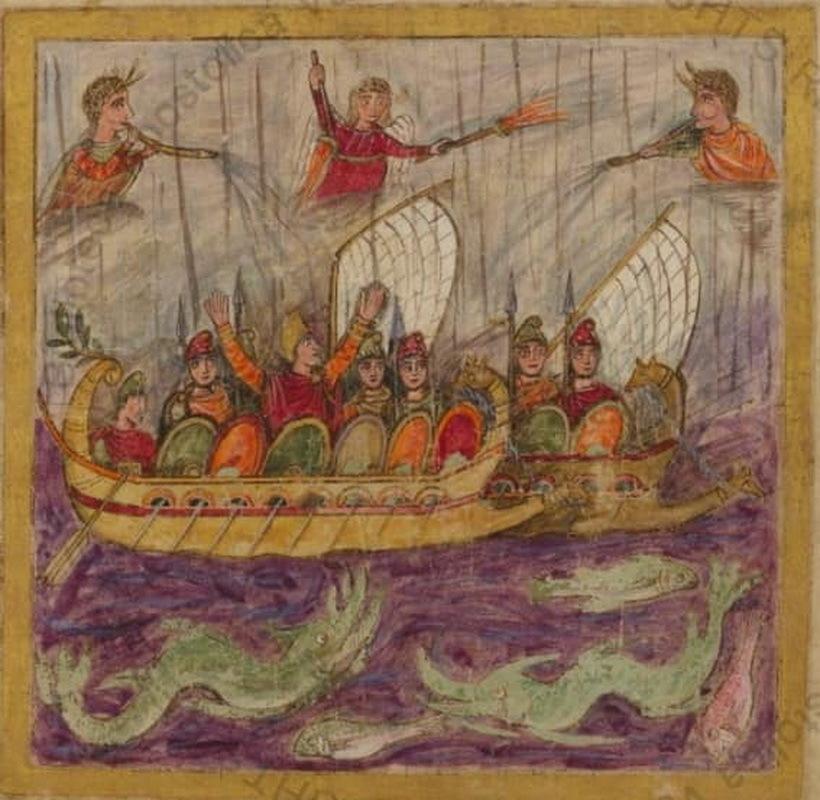 Римские военные корабли на миниатюре Ватиканского Вергилия, V век - Флот Римской империи | Warspot.ru