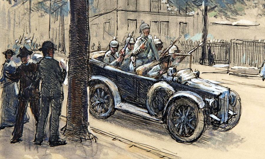 Первые немцы в Люксембурге появились 2 августа 1914 года около 08:00. Рисунок сделан художником Пьером Бланом, очевидцем событий - Странная война Люксембурга | Warspot.ru