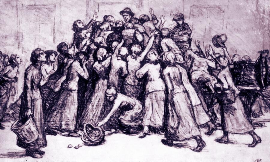 Жительницы Люксембурга в давке на городском рынке пытаются разжиться картофелем, июль 1917 года (рисунок Пьера Блана). Производство сельхозпродукции в герцогстве постоянно сокращалось, а цены на продукты постоянно росли. Борьба правительства с черным рынком практически не приносила результатов, а изоляция от внешних рынков усугубляла ситуацию. В июне 1917 года люксембургские рабочие даже было устроили забастовку из-за плохой ситуации с продовольствием, но немецкие власти её подавили - Странная война Люксембурга | Warspot.ru