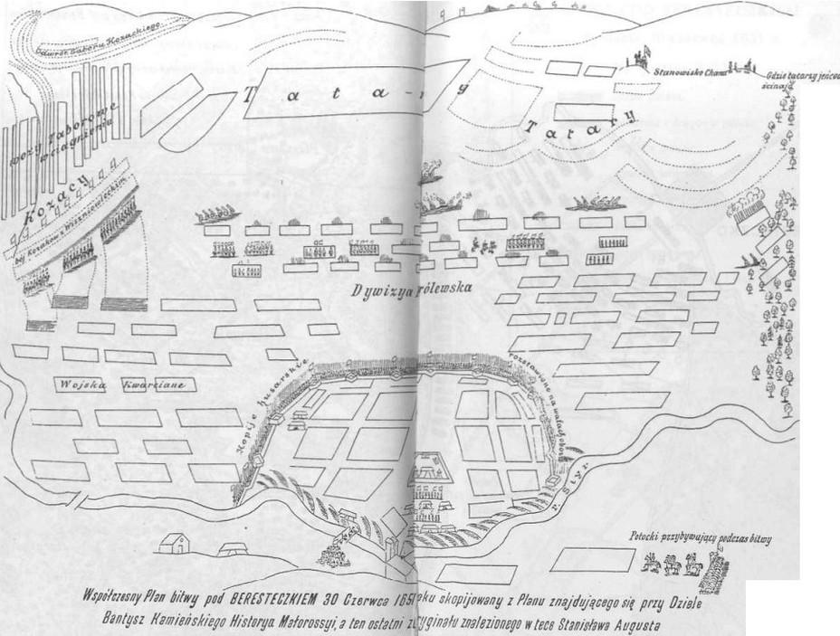 Построение армий 30 июня перед началом битвы. Romanski, R. Beresteczko 1651 - Битва под Берестечком: первое поражение Хмельницкого | Warspot.ru