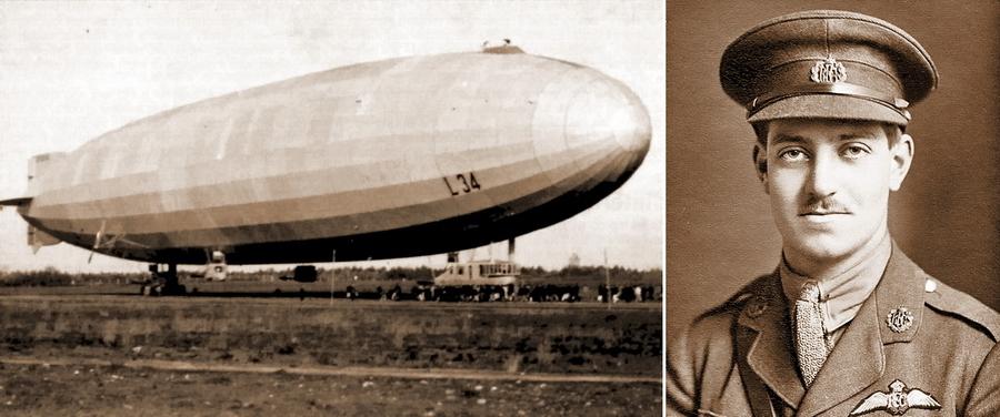 Слева «Цеппелин» L.34, справа его победитель 2-й лейтенант Иэн Пайотт - Осень пылающих гигантов | Warspot.ru
