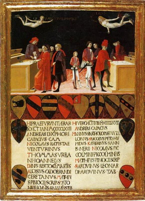 Финансы Сиенской республики в дни мира и в дни войны. Иллюстрированная створка деревянной обложки казначейской книги. Атрибутируется Бенвенуто ди Джованни, 1468 год. В группе справа изображены три солдата, получающие оплату. archiviodistato.siena.it