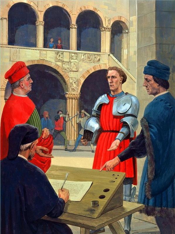 Заключение кондотты. Источник: Murphy D. Condottiere 1300-1500. Infamous Medieval Mercenaries (Warrior 115). N. Y.: Osprey Publishing, 2007. Plate B.