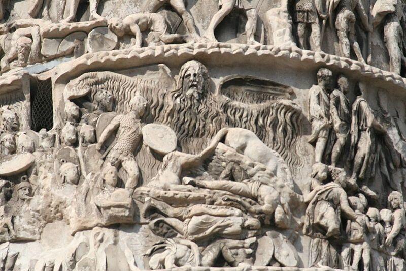 Сцена № 16 рельефного фриза Колонны Марка Аврелия в Риме с изображением «чудесного дождя».commons.wikimedia.org