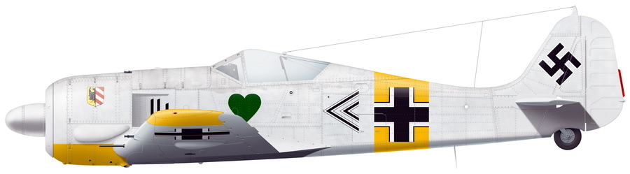 «Фокке-Вульф» Fw 190A-4 командира группы I./JG 54 майора Ганса Филиппа, аэродром Красногвардейск, зима 1943 года. Реконструкция по фото художника Александра Казакова - Кровавая «Искра» генерала Кравченко | Warspot.ru